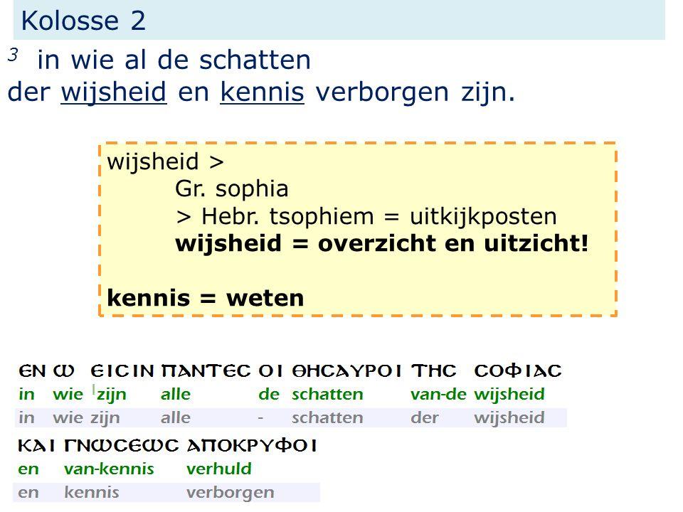 Kolosse 2 3 in wie al de schatten der wijsheid en kennis verborgen zijn. wijsheid > Gr. sophia > Hebr. tsophiem = uitkijkposten wijsheid = overzicht e