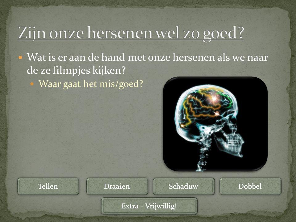 Wat is er aan de hand met onze hersenen als we naar de ze filmpjes kijken? Waar gaat het mis/goed? Tellen Draaien Schaduw Dobbel Extra – Vrijwillig!