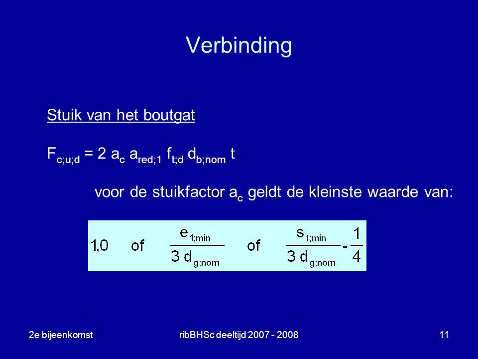2e bijeenkomstribBHSc deeltijd 2007 - 200811 Verbinding Stuik van het boutgat F c;u;d = 2 a c a red;1 f t;d d b;nom t voor de stuikfactor a c geldt de