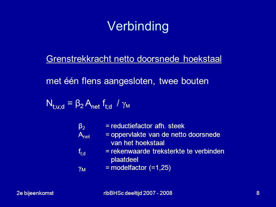 2e bijeenkomstribBHSc deeltijd 2007 - 20088 Verbinding Grenstrekkracht netto doorsnede hoekstaal met één flens aangesloten, twee bouten N t;u;d = β 2