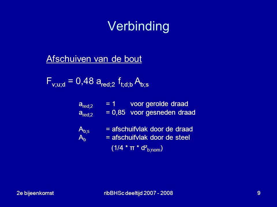 2e bijeenkomstribBHSc deeltijd 2007 - 20089 Verbinding Afschuiven van de bout F v;u;d = 0,48 a red;2 f t;d;b A b;s a red;2 = 1voor gerolde draad a red