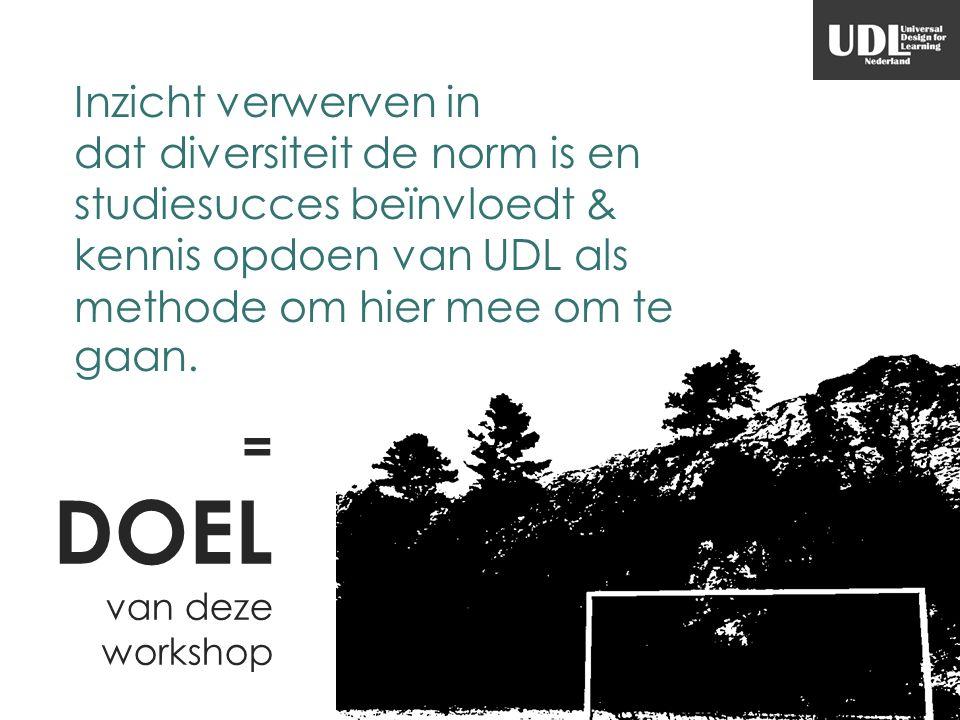 = DOEL van deze workshop Inzicht verwerven in dat diversiteit de norm is en studiesucces beïnvloedt & kennis opdoen van UDL als methode om hier mee om