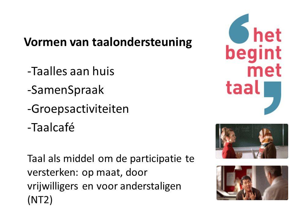 Vormen van taalondersteuning -Taalles aan huis -SamenSpraak -Groepsactiviteiten -Taalcafé Taal als middel om de participatie te versterken: op maat, door vrijwilligers en voor anderstaligen (NT2)