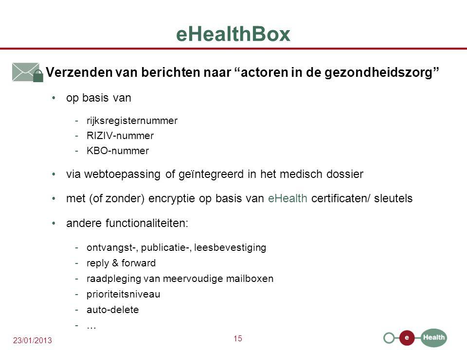 """15 23/01/2013 eHealthBox  Verzenden van berichten naar """"actoren in de gezondheidszorg"""" op basis van -rijksregisternummer -RIZIV-nummer -KBO-nummer vi"""