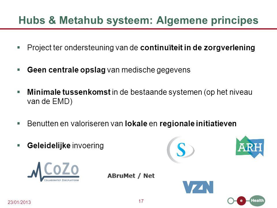 17 23/01/2013 Hubs & Metahub systeem: Algemene principes  Project ter ondersteuning van de continuïteit in de zorgverlening  Geen centrale opslag van medische gegevens  Minimale tussenkomst in de bestaande systemen (op het niveau van de EMD)  Benutten en valoriseren van lokale en regionale initiatieven  Geleidelijke invoering