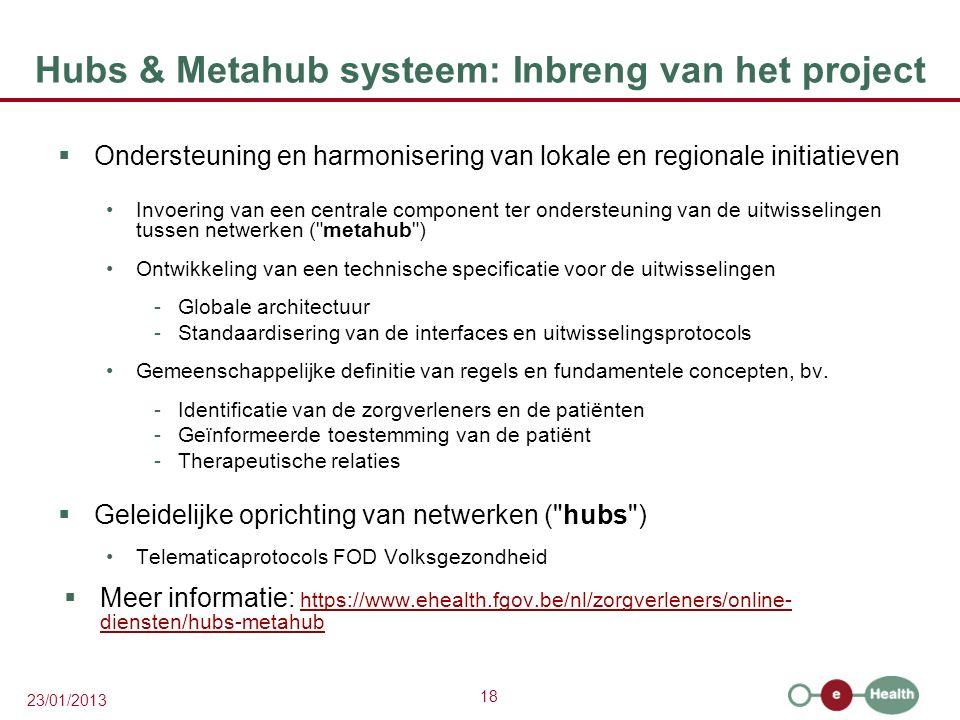 18 23/01/2013 Hubs & Metahub systeem: Inbreng van het project  Ondersteuning en harmonisering van lokale en regionale initiatieven Invoering van een centrale component ter ondersteuning van de uitwisselingen tussen netwerken ( metahub ) Ontwikkeling van een technische specificatie voor de uitwisselingen -Globale architectuur -Standaardisering van de interfaces en uitwisselingsprotocols Gemeenschappelijke definitie van regels en fundamentele concepten, bv.