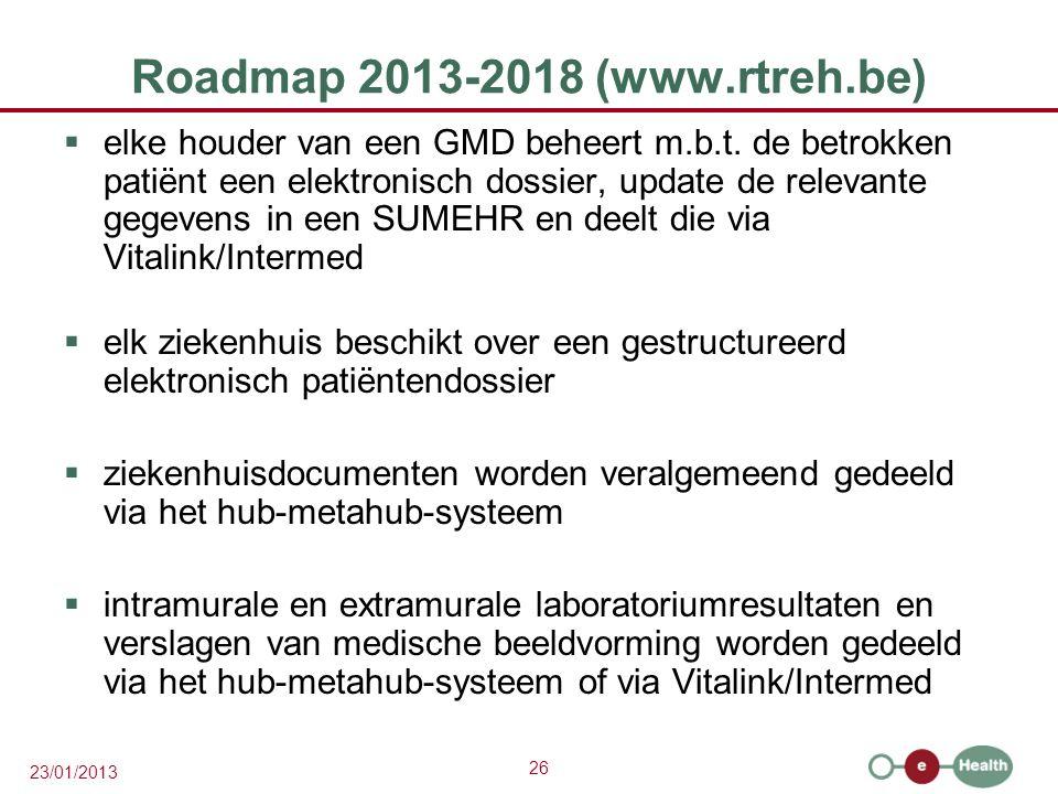 26 23/01/2013 Roadmap 2013-2018 (www.rtreh.be)  elke houder van een GMD beheert m.b.t. de betrokken patiënt een elektronisch dossier, update de relev
