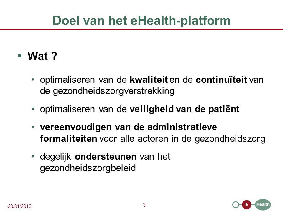3 23/01/2013 Doel van het eHealth-platform  Wat ? optimaliseren van de kwaliteit en de continuïteit van de gezondheidszorgverstrekking optimaliseren