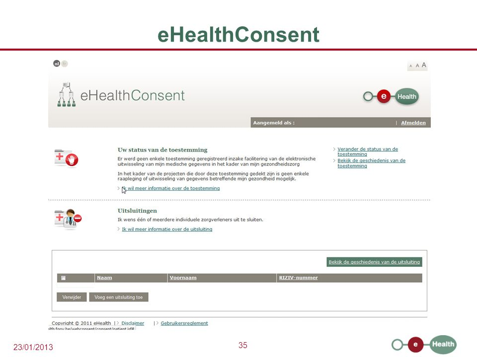35 23/01/2013 eHealthConsent