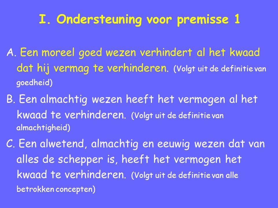 I. Ondersteuning voor premisse 1 A. Een moreel goed wezen verhindert al het kwaad dat hij vermag te verhinderen. (Volgt uit de definitie van goedheid)