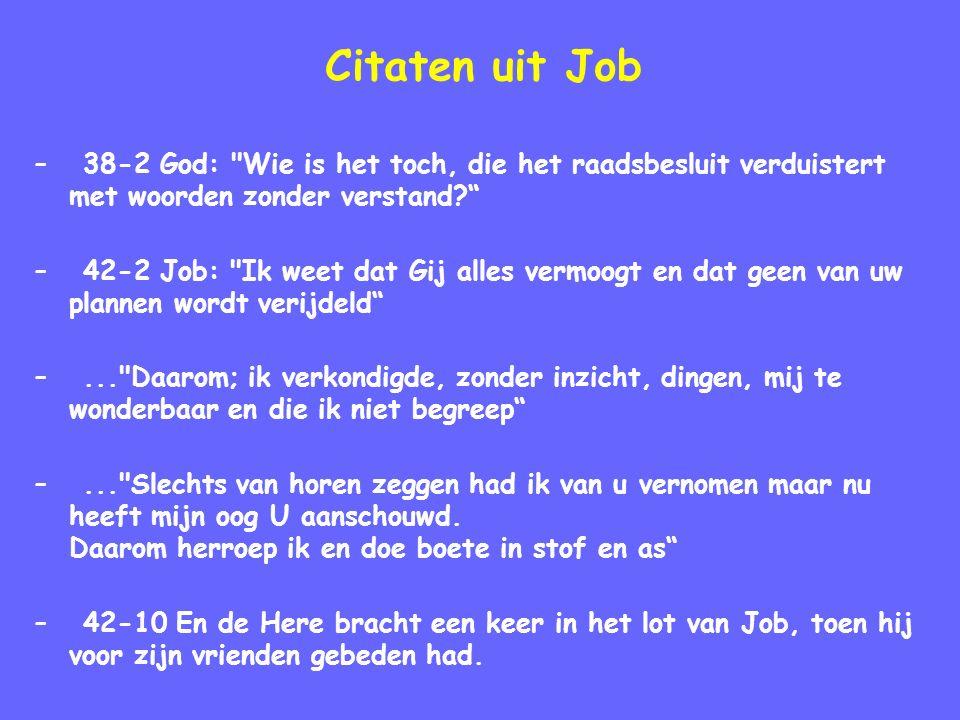 Citaten uit Job –38-2 God: