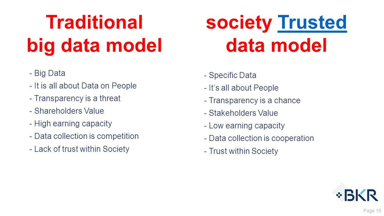 Page 18 society Trusted data modelTrusted - Big Data - It is all about Data on People - Transparency is a threat - Shareholders Value - High earning capacity - Data collection is competition - Lack of trust within Society Traditional big data model - Specific Data - It's all about People - Transparency is a chance - Stakeholders Value - Low earning capacity - Data collection is cooperation - Trust within Society