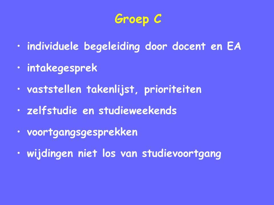 Groep C individuele begeleiding door docent en EA intakegesprek vaststellen takenlijst, prioriteiten zelfstudie en studieweekends voortgangsgesprekken wijdingen niet los van studievoortgang