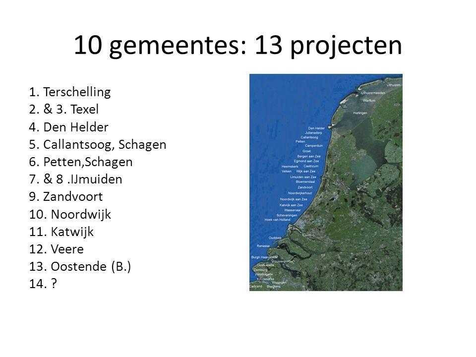 10 gemeentes: 13 projecten 1. Terschelling 2. & 3. Texel 4. Den Helder 5. Callantsoog, Schagen 6. Petten,Schagen 7. & 8.IJmuiden 9. Zandvoort 10. Noor