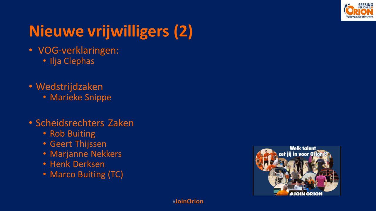 Nieuwe vrijwilligers (2) VOG-verklaringen: Ilja Clephas Wedstrijdzaken Marieke Snippe Scheidsrechters Zaken Rob Buiting Geert Thijssen Marjanne Nekker