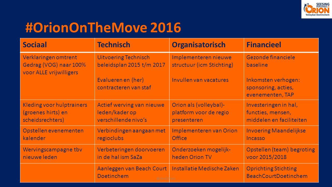 #OrionOnTheMove 2016 SociaalTechnischOrganisatorischFinancieel Verklaringen omtrent Gedrag (VOG) naar 100% voor ALLE vrijwilligers Uitvoering Technisc