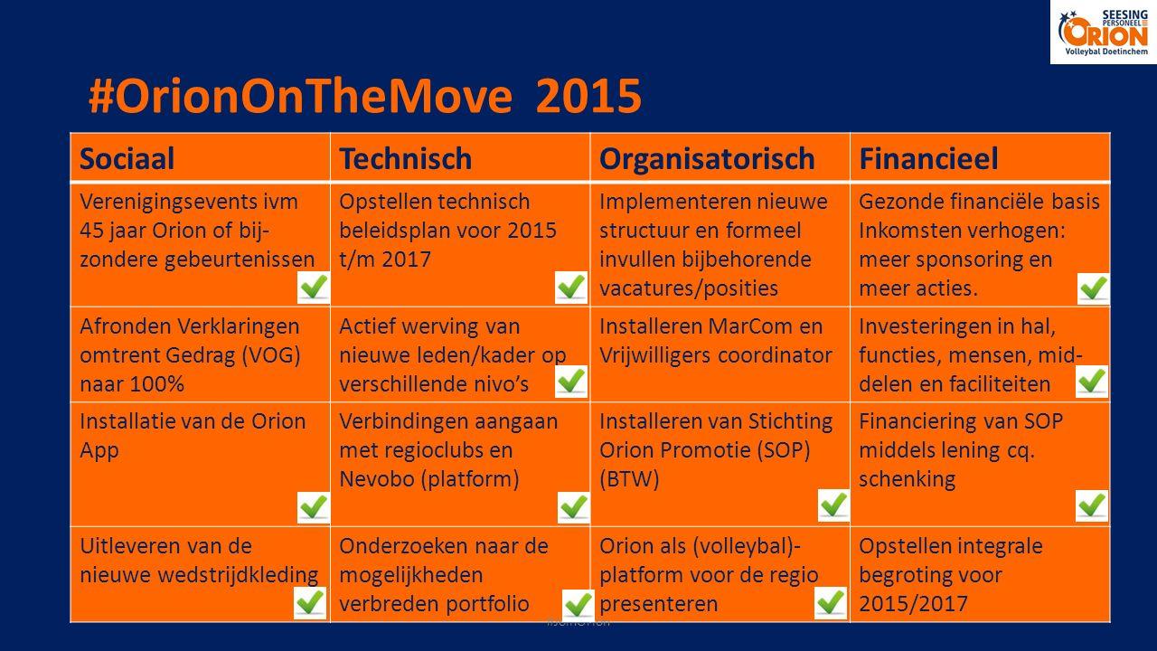 #OrionOnTheMove 2015 SociaalTechnischOrganisatorischFinancieel Verenigingsevents ivm 45 jaar Orion of bij- zondere gebeurtenissen Opstellen technisch