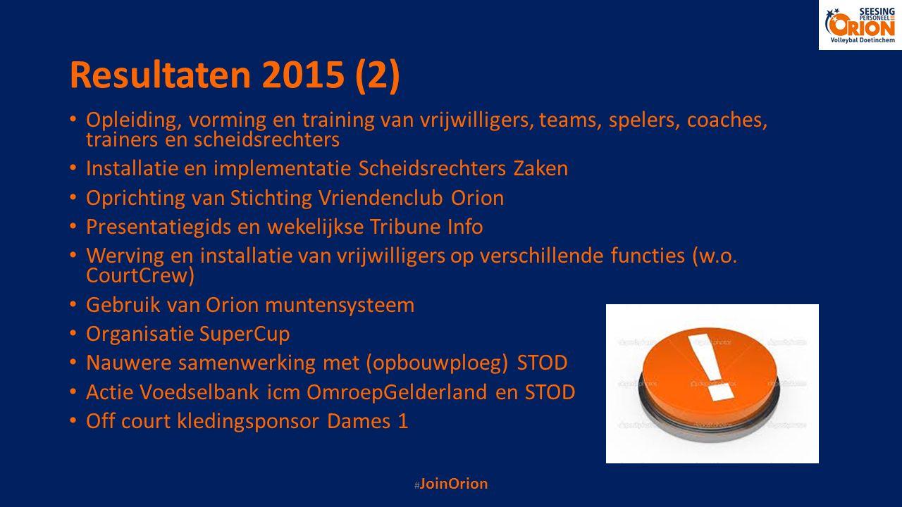 Resultaten 2015 (2) Opleiding, vorming en training van vrijwilligers, teams, spelers, coaches, trainers en scheidsrechters Installatie en implementati