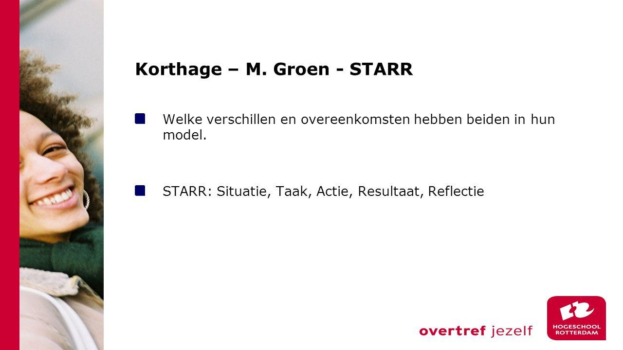 Korthage – M. Groen - STARR Welke verschillen en overeenkomsten hebben beiden in hun model. STARR: Situatie, Taak, Actie, Resultaat, Reflectie