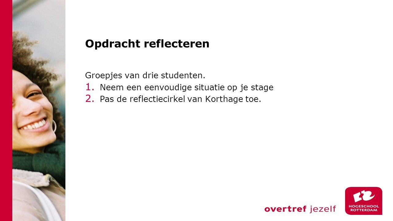 Opdracht reflecteren Groepjes van drie studenten. 1. Neem een eenvoudige situatie op je stage 2. Pas de reflectiecirkel van Korthage toe.