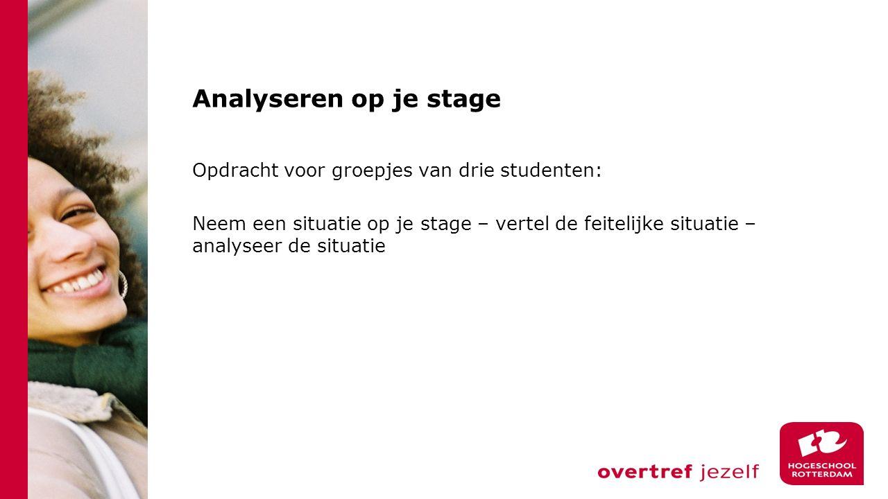 Analyseren op je stage Opdracht voor groepjes van drie studenten: Neem een situatie op je stage – vertel de feitelijke situatie – analyseer de situati