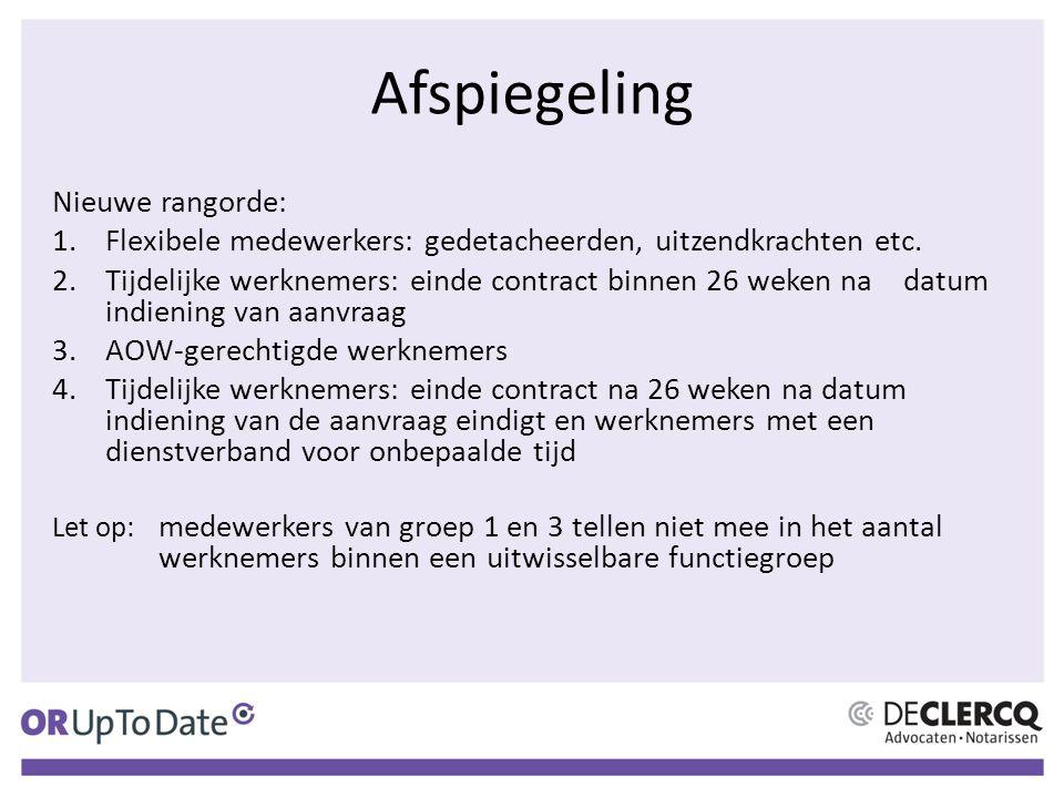 Afspiegeling Nieuwe rangorde: 1.Flexibele medewerkers: gedetacheerden, uitzendkrachten etc. 2.Tijdelijke werknemers: einde contract binnen 26 weken na