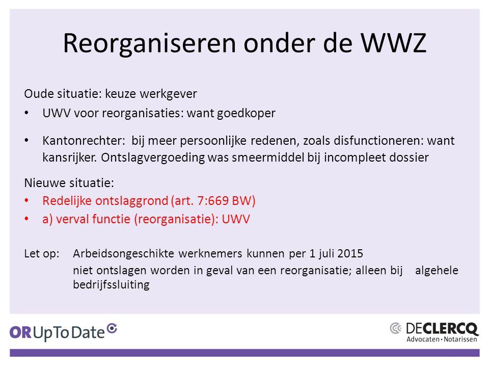 Reorganiseren onder de WWZ Oude situatie: keuze werkgever UWV voor reorganisaties: want goedkoper Kantonrechter: bij meer persoonlijke redenen, zoals