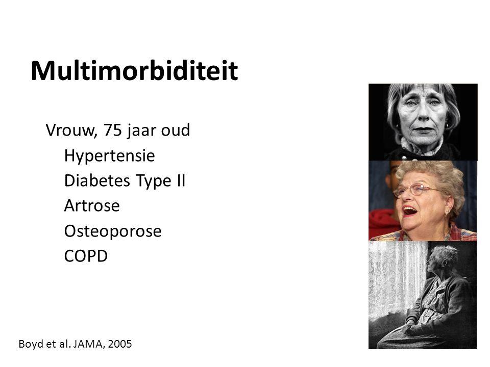 Multimorbiditeit Vrouw, 75 jaar oud Hypertensie Diabetes Type II Artrose Osteoporose COPD Boyd et al.