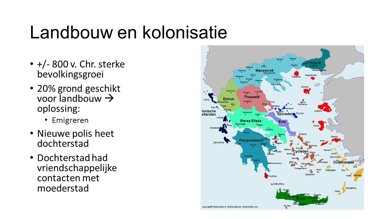 Landbouw en kolonisatie +/- 800 v. Chr. sterke bevolkingsgroei 20% grond geschikt voor landbouw  oplossing: Emigreren Nieuwe polis heet dochterstad D