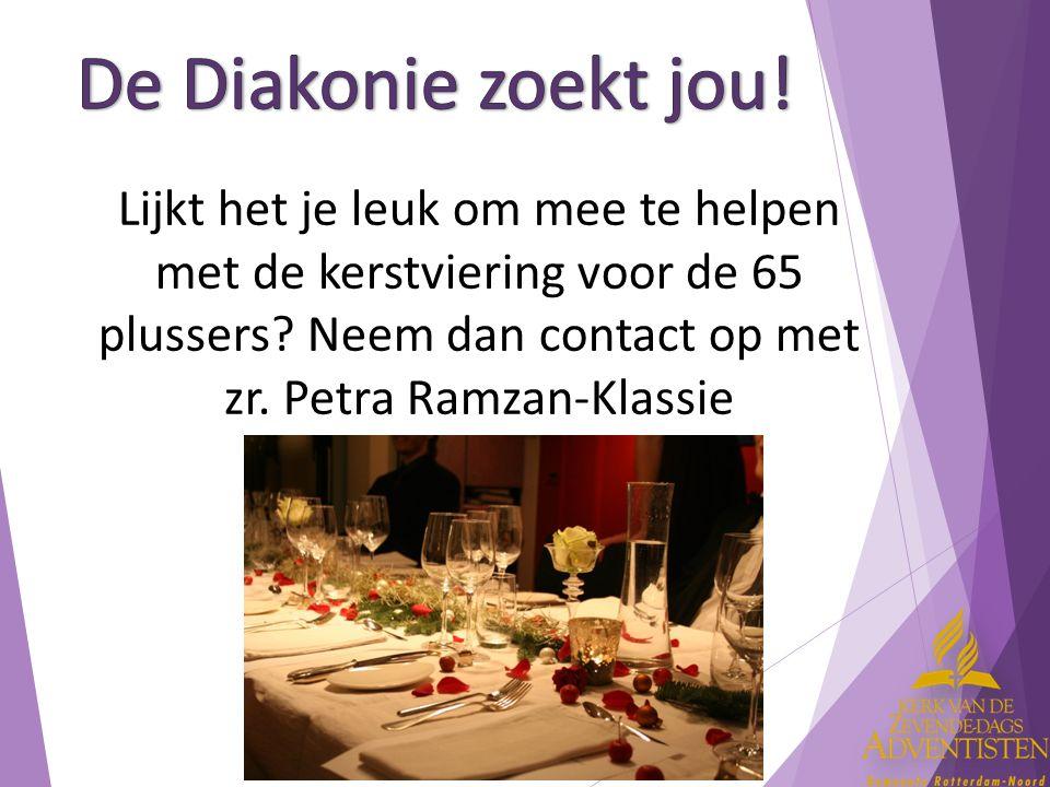 Lijkt het je leuk om mee te helpen met de kerstviering voor de 65 plussers? Neem dan contact op met zr. Petra Ramzan-Klassie