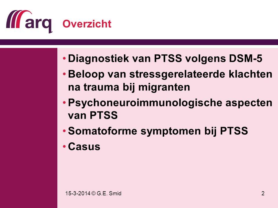 15-3-2014 © G.E. Smid2 Overzicht Diagnostiek van PTSS volgens DSM-5 Beloop van stressgerelateerde klachten na trauma bij migranten Psychoneuroimmunolo