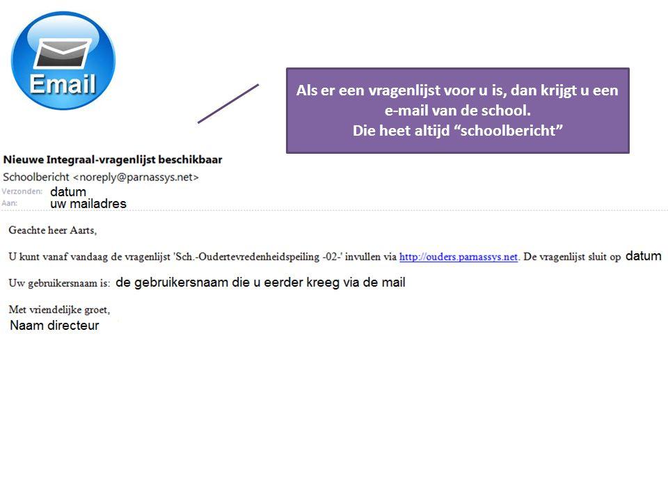 Als er een vragenlijst voor u is, dan krijgt u een e-mail van de school.