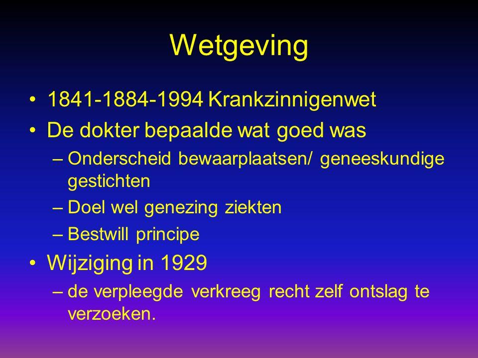 Wetgeving 1841-1884-1994 Krankzinnigenwet De dokter bepaalde wat goed was –Onderscheid bewaarplaatsen/ geneeskundige gestichten –Doel wel genezing zie