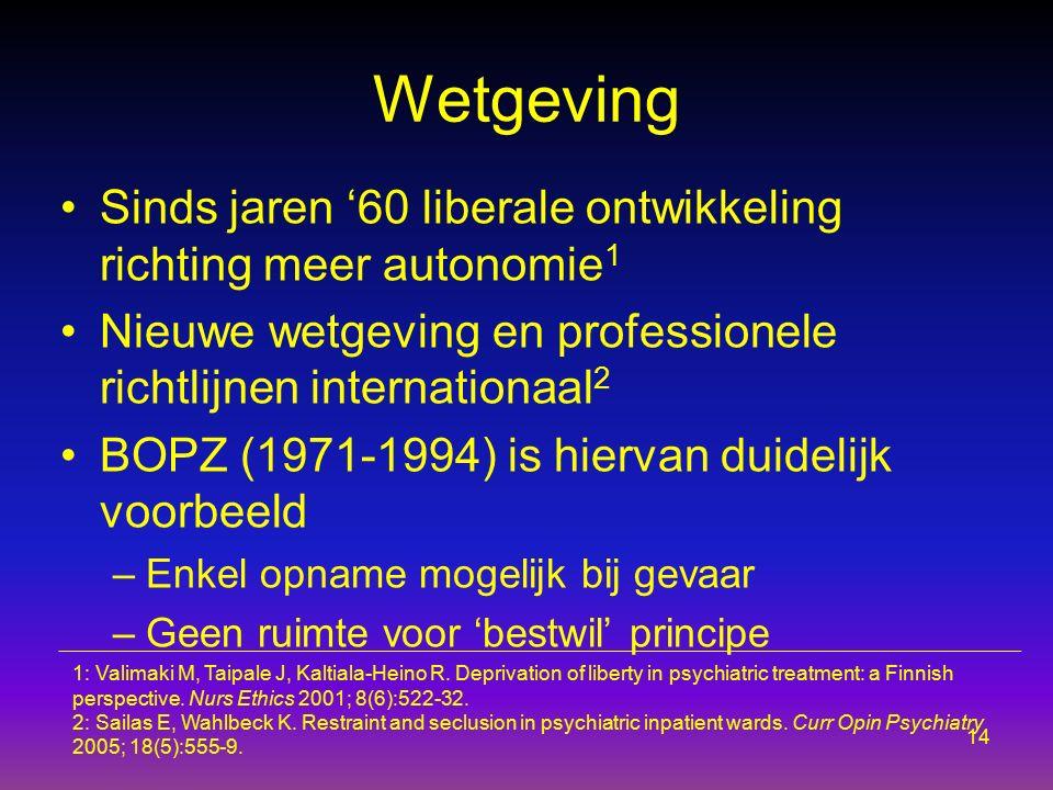 Wetgeving Sinds jaren '60 liberale ontwikkeling richting meer autonomie 1 Nieuwe wetgeving en professionele richtlijnen internationaal 2 BOPZ (1971-19