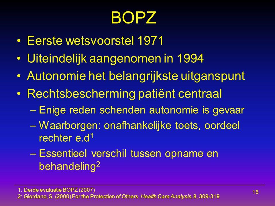 BOPZ Eerste wetsvoorstel 1971 Uiteindelijk aangenomen in 1994 Autonomie het belangrijkste uitganspunt Rechtsbescherming patiënt centraal –Enige reden
