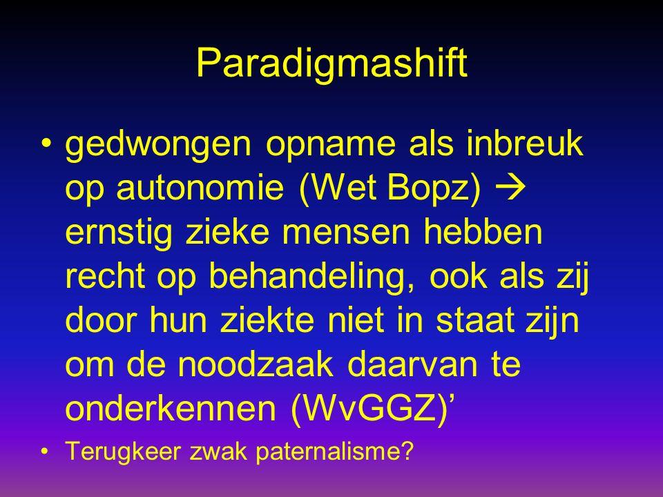 Paradigmashift gedwongen opname als inbreuk op autonomie (Wet Bopz)  ernstig zieke mensen hebben recht op behandeling, ook als zij door hun ziekte ni