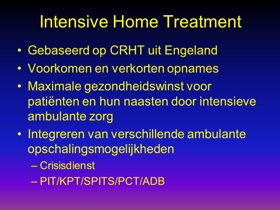 Intensive Home Treatment Gebaseerd op CRHT uit Engeland Voorkomen en verkorten opnames Maximale gezondheidswinst voor patiënten en hun naasten door in