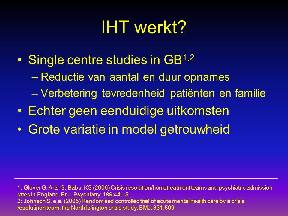 IHT werkt? Single centre studies in GB 1,2 –Reductie van aantal en duur opnames –Verbetering tevredenheid patiënten en familie Echter geen eenduidige