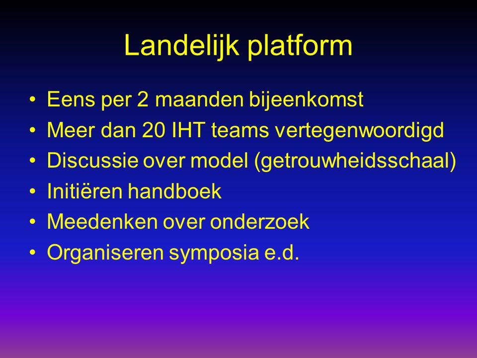 Landelijk platform Eens per 2 maanden bijeenkomst Meer dan 20 IHT teams vertegenwoordigd Discussie over model (getrouwheidsschaal) Initiëren handboek