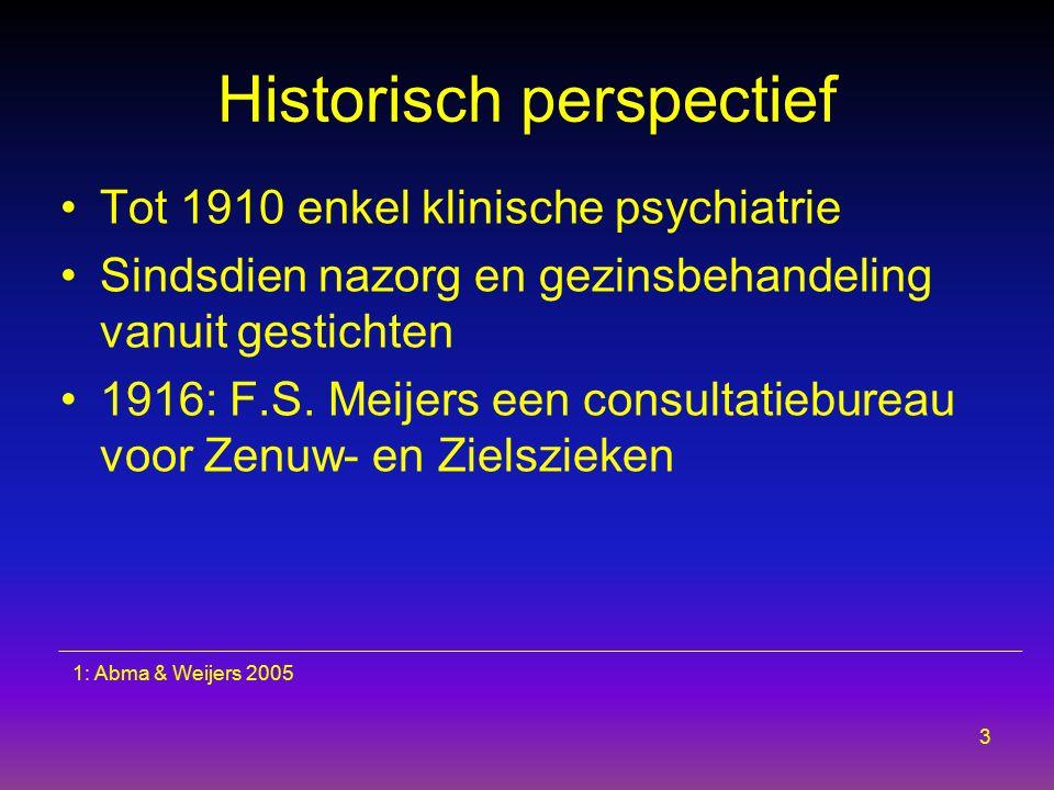 Historisch perspectief Tot 1910 enkel klinische psychiatrie Sindsdien nazorg en gezinsbehandeling vanuit gestichten 1916: F.S. Meijers een consultatie