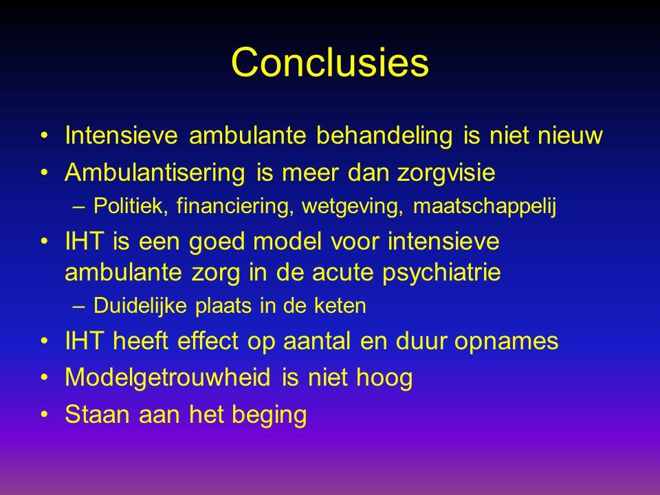 Conclusies Intensieve ambulante behandeling is niet nieuw Ambulantisering is meer dan zorgvisie –Politiek, financiering, wetgeving, maatschappelij IHT