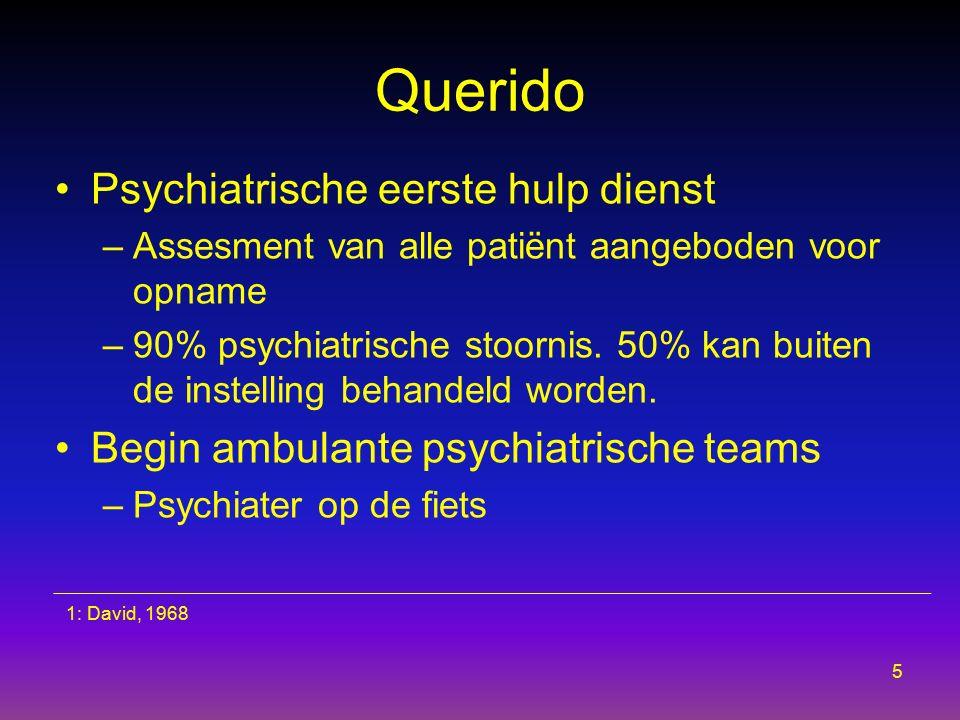 Querido Psychiatrische eerste hulp dienst –Assesment van alle patiënt aangeboden voor opname –90% psychiatrische stoornis. 50% kan buiten de instellin