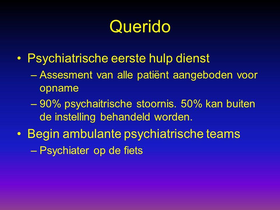 Querido Psychiatrische eerste hulp dienst –Assesment van alle patiënt aangeboden voor opname –90% psychaitrische stoornis. 50% kan buiten de instellin