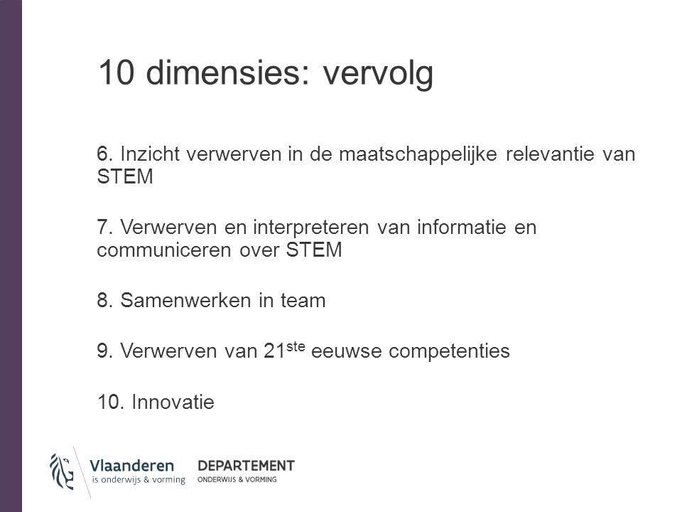 10 dimensies: vervolg 6. Inzicht verwerven in de maatschappelijke relevantie van STEM 7. Verwerven en interpreteren van informatie en communiceren ove