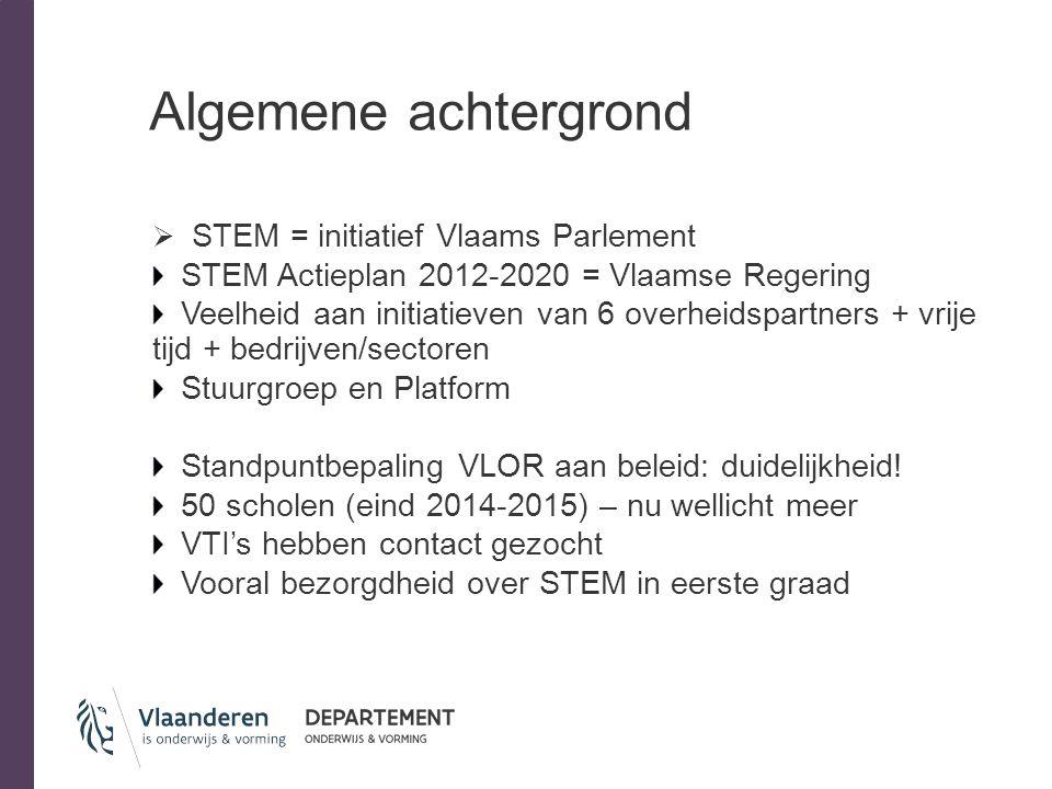 Algemene achtergrond  STEM = initiatief Vlaams Parlement STEM Actieplan 2012-2020 = Vlaamse Regering Veelheid aan initiatieven van 6 overheidspartner