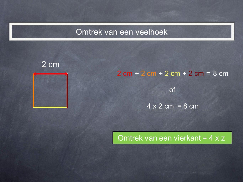 2 cm 8 cm2 cm + + += of 4 x 2 cm8 cm= Omtrek van een vierkant = 4 x z Omtrek van een veelhoek......................................