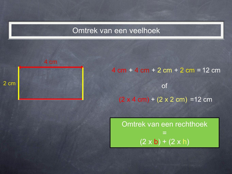 12 cm 4 cm +++= of (2 x 4 cm) + (2 x 2 cm)12 cm= Omtrek van een rechthoek = (2 x b) + (2 x h) Omtrek van een veelhoek 2 cm