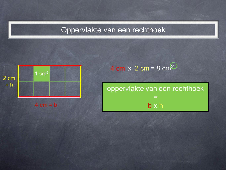 = 8 cm 2 oppervlakte van een rechthoek = b x h Oppervlakte van een rechthoek 1 cm 2 4 cm = b 4 cm x 2 cm = h 2 cm