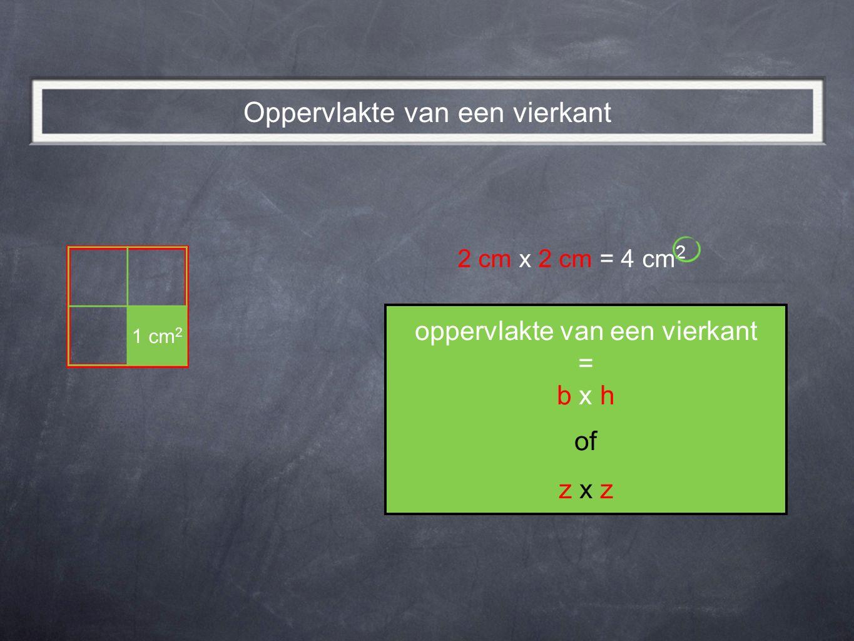 2 cm x 2 cm = 4 cm 2 oppervlakte van een vierkant = b x h of z x z Oppervlakte van een vierkant 1 cm 2