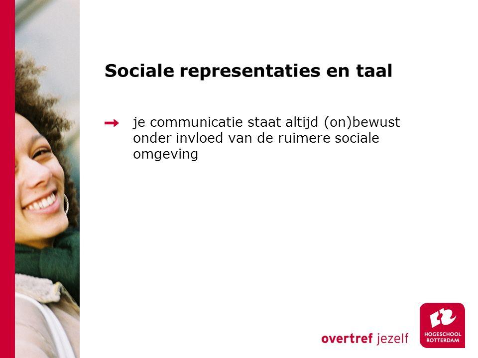 Sociale representaties en taal je communicatie staat altijd (on)bewust onder invloed van de ruimere sociale omgeving